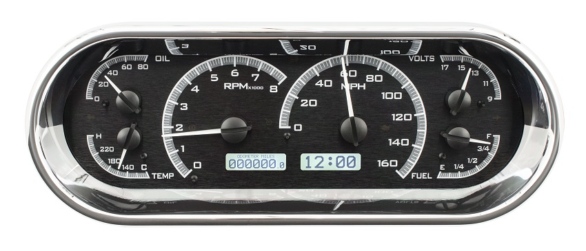 Digital Gauge Cluster : Dakota digital universal oval vhx analog dash gauges black