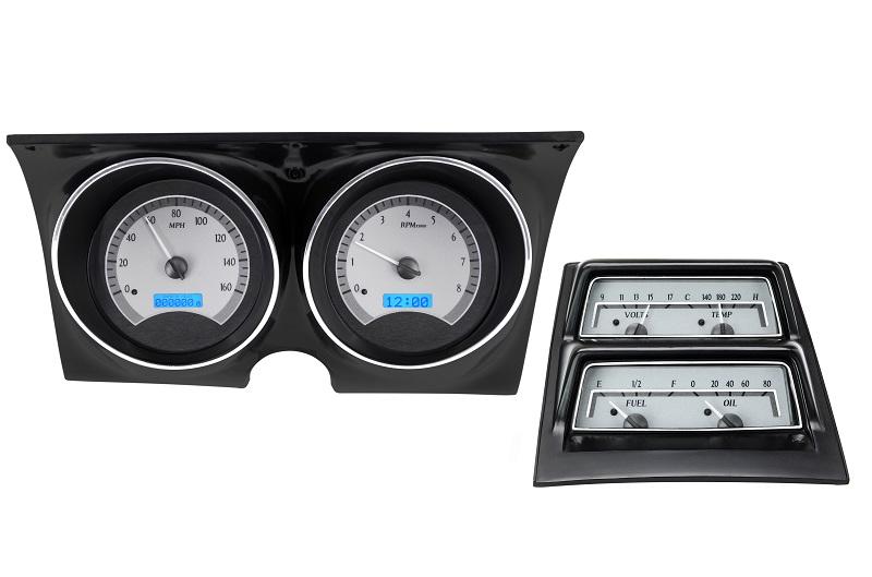 dakota digital 68 chevy camaro analog dash console gauge silver blue vhx 68c cac ebay. Black Bedroom Furniture Sets. Home Design Ideas